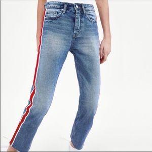 NWT Zara hi-rise straight leg Jean side stripe